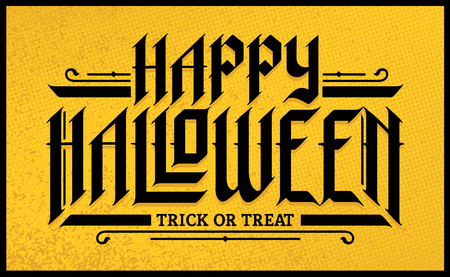 Black Halloween Hand-Drawn Gothic Lettering on yellow grunge background. Vector typography.