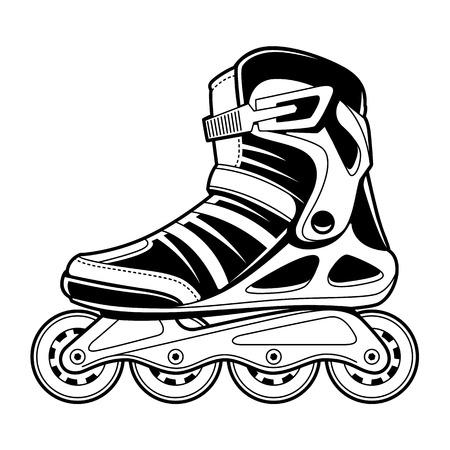 Arte de la línea técnica del patín de ruedas en línea aislado en blanco. Ilustración de vector de blanco y negro.