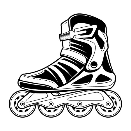 Inline roller skate technical line art isolated on white. Black and white vector illustration.