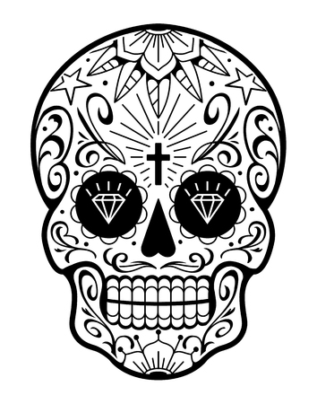 Vector Mexican Skull with Patterns. Old school tattoo style sugar skull. Black and white illustration. Standard-Bild - 110078964
