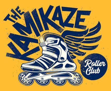 Kamikaze Rolling Club Grunge Design con patín alado. Diseño de vector grunge sucio. Ilustración de vector