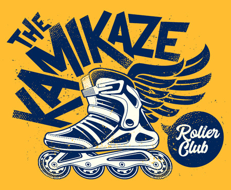 Kamikaze Rolling Club Grunge Design with winged roller skate. Dirty grunge vector design.