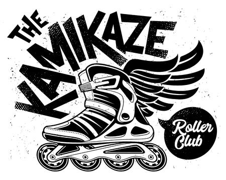 Kamikaze Rolling Club Grunge Design mit geflügeltem Rollschuh. Schmutziges monochromes Design.