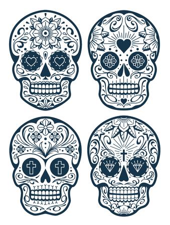 Vector Mexican Skulls with Patterns. Old school tattoo style sugar skulls. Vector skulls collection.