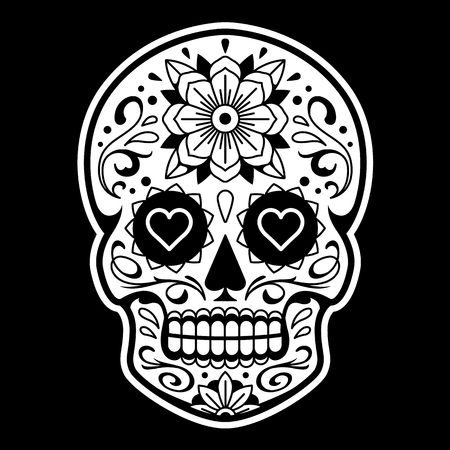 Vector Mexican Skull with Patterns. Old school tattoo style sugar skull. Black and white illustration. Stock Illustratie