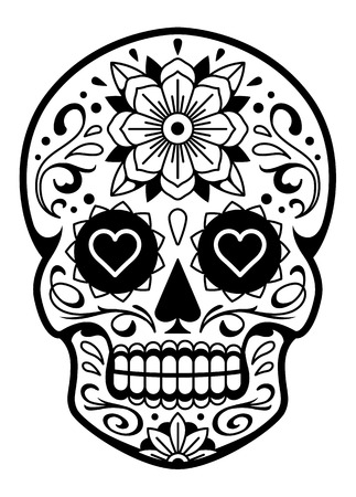 Vector Mexican Skull with Patterns. Old school tattoo style sugar skull. Black and white illustration. Ilustração