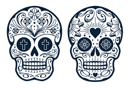 Vector Mexican Skulls with Patterns. Old school tattoo style sugar skulls. Black and white illustration. Foto de archivo - 109646485