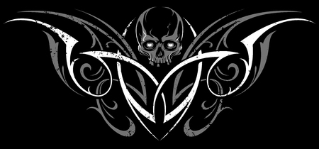 Gothic Abstract Ornament Vector Shape with Skull. White and grey on black. Grunge tattoo vector illustration. Illustration