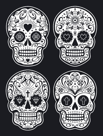 Vector Mexican Skulls with Patterns. Old school tattoo style sugar skulls. White on black version. Vector skulls collection.