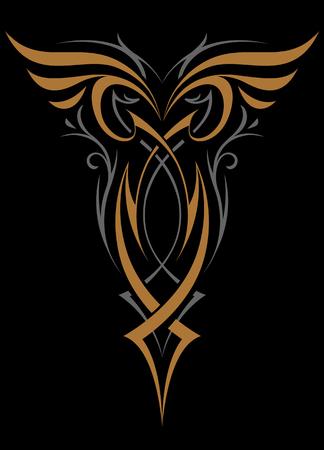 Forme de vecteur d'ornement abstrait gothique. Or et argent sur fond noir. Illustration vectorielle de tatouage.