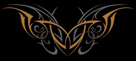 Forma gótica del vector del ornamento abstracto. Oro y plata sobre negro. Ilustración de vector de tatuaje. Ilustración de vector