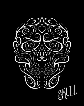 Abstract Skull Shape White Pattern. Vector art of gothic tattoo ornament with skull shape. White and grey shapes isolated on black.
