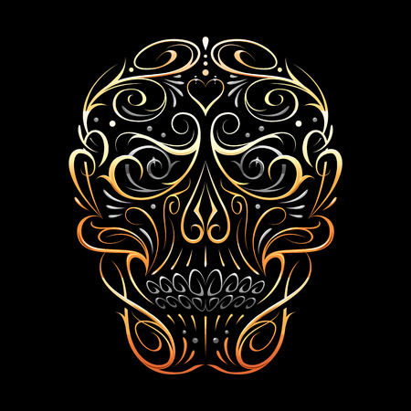 Abstract Skull Shape Gold Pattern. Vector art of gothic tattoo ornament with skull shape. Gold shapes isolated on black. Ilustração