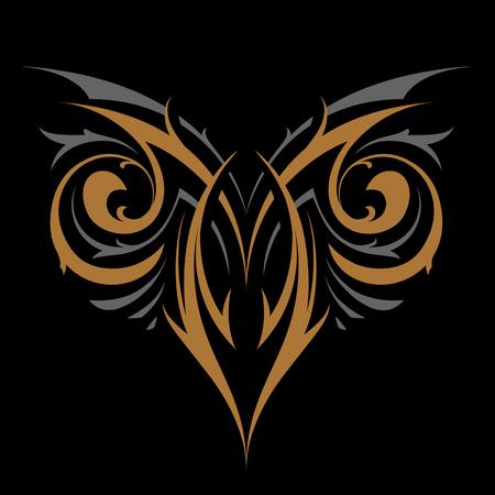 Forma di vettore ornamento gotico astratto. Oro e argento su nero. Illustrazione vettoriale del tatuaggio. Vettoriali