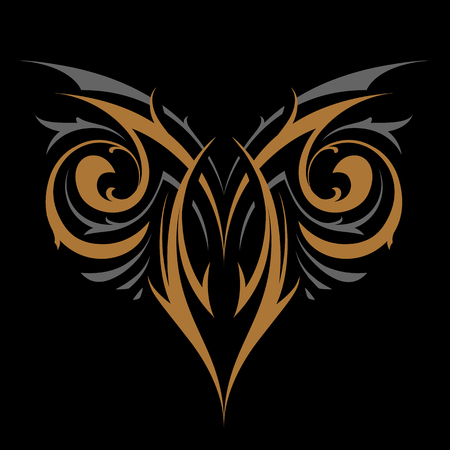 Gothic Abstract Ornament Vector Shape. Gold and silver on black. Tattoo vector illustration.