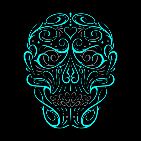 Abstract Skull Shape Turquoise Pattern. Vector art of gothic tattoo ornament with skull shape. White and grey shapes isolated on black. Stock fotó - 113567410