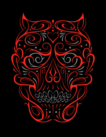 Abstract Skull Shape red Pattern. Vector art of gothic tattoo ornament with devil skull shape. Red shapes isolated on black.