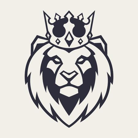 Leeuw in kroon op zoek naar gevaar. Leeuw hoofd pictogram. Leeuw vector logo sjabloon.
