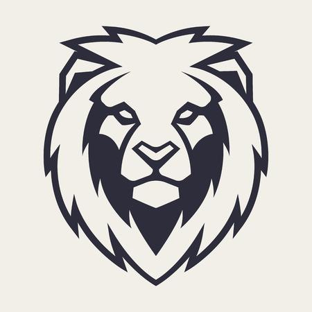 Leone in cerca di pericolo. Icona della testa di leone. Modello di logo di vettore del leone. Logo