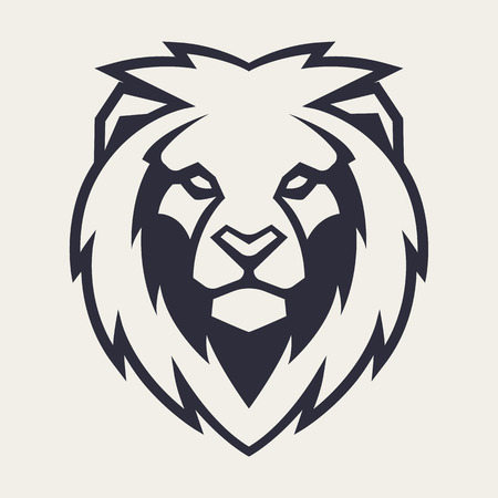 Lion looking danger. Lion head icon. Lion vector logo template.