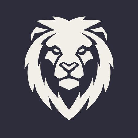 Leone in cerca di pericolo. Icona della testa di leone. Modello di logo di vettore del leone.