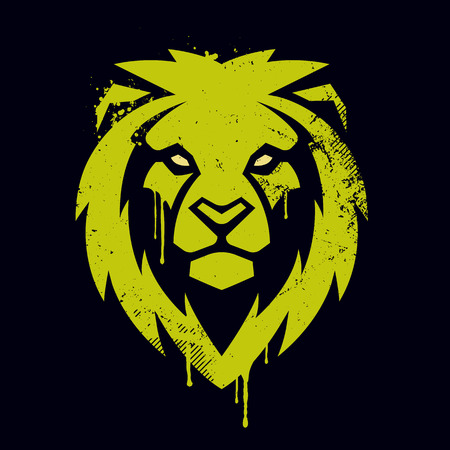 Lion head graffiti art. Lion head icon. Lion vector logo template.