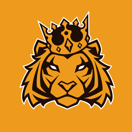 Tiger in crown looking danger. Tiger head icon. Tiger vector logo template. Çizim