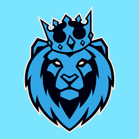 Lion in crown looking danger. Lion head icon. Lion vector logo template.