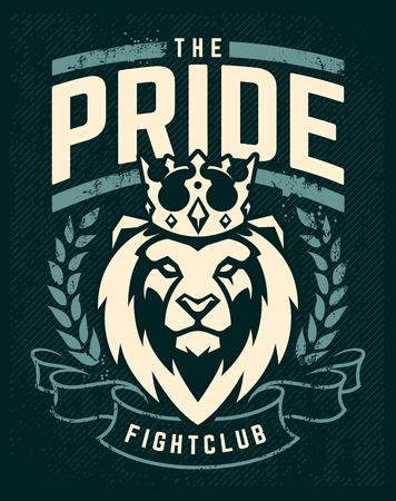 Modello di disegno dell'emblema con leone in corona che sembra in pericolo. Arte del grunge con elementi di corona e nastro. Stile classico. Stampa vettoriale.