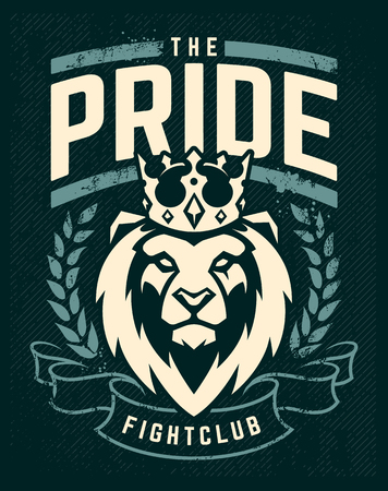 Emblem design template with lion in crown looking danger. Grunge art with wreath and ribbon elements. Classic style. Vector print.