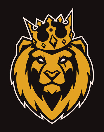 Lion in crown looking danger. Lion head icon. Lion vector logo template. Archivio Fotografico - 112955853