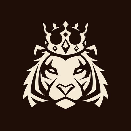 Tiger in crown looking danger. Tiger head icon. Tiger vector logo template. Illustration