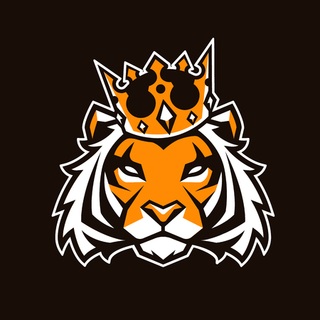 Tiger in crown looking danger. Tiger head icon. Tiger vector logo template. Illustration