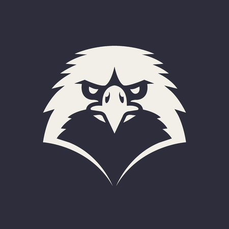 Eagle mascot vector art. Frontal symmetric image of eagle looking dangerous. Vector monochrome icon.