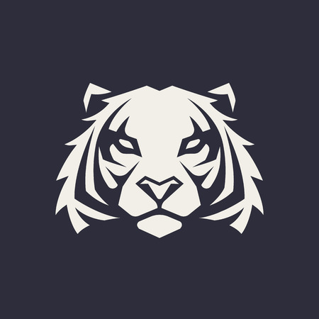 Tiger mascot vector art. Frontal symmetric image of tiger looking dangerous. Vector monochrome icon.