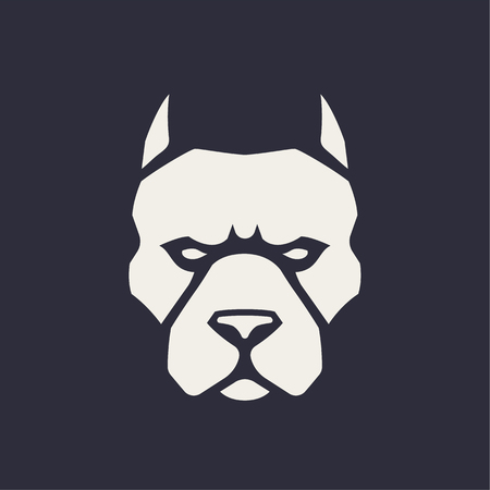 Pitbull mascot vector art. Frontal symmetric image of pitbull looking dangerous. Vector monochrome icon.