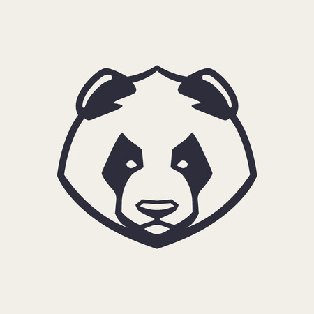 Panda mascot vector art. Frontal symmetric image of panda bear looking dangerous. Vector monochrome icon.