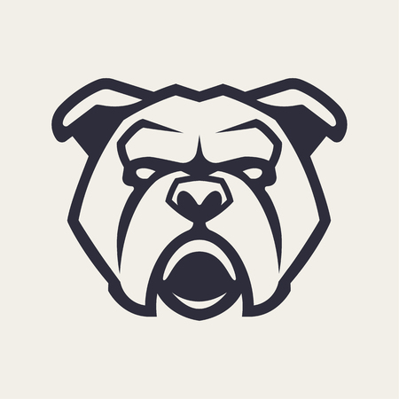 Bulldog mascot vector art. Frontal symmetric image of Bulldog looking dangerous. Vector monochrome icon. Çizim
