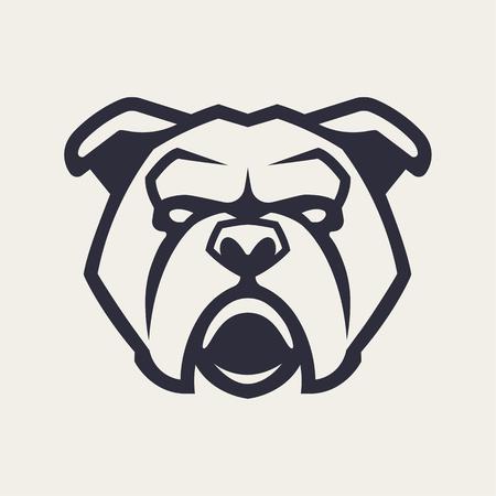 Bulldogge Maskottchen Vektorgrafiken. Frontales symmetrisches Bild der Bulldogge, die gefährlich aussieht. Vektor-Monochrom-Symbol. Vektorgrafik
