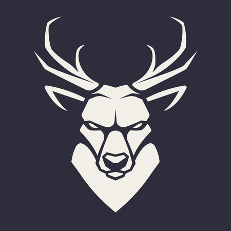 Deer mascot vector art. Frontal symmetric image of deer looking dangerous. Vector monochrome icon. Illustration