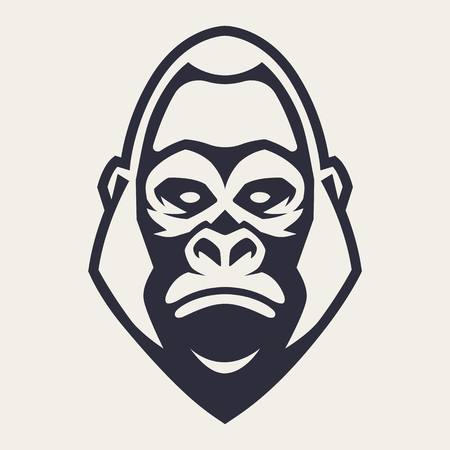 Gorilla mascot vector art. Frontal symmetric image of gorilla looking dangerous. Vector monochrome icon.