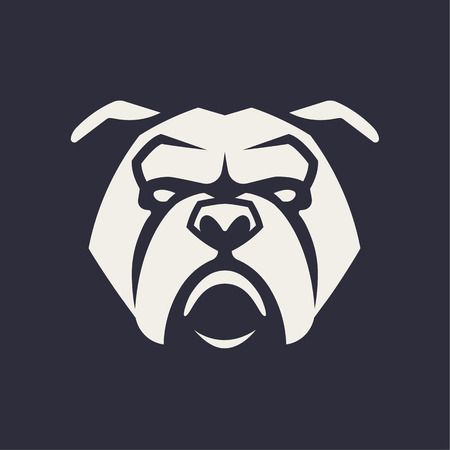 Bulldog mascot vector art. Frontal symmetric image of Bulldog looking dangerous. Vector monochrome icon. Illustration