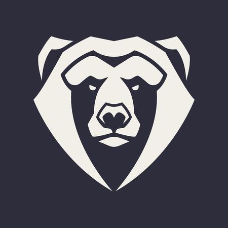 Arte de vector de mascota de oso. Imagen simétrica frontal de oso que parece peligroso. Icono monocromo de vector. Ilustración de vector
