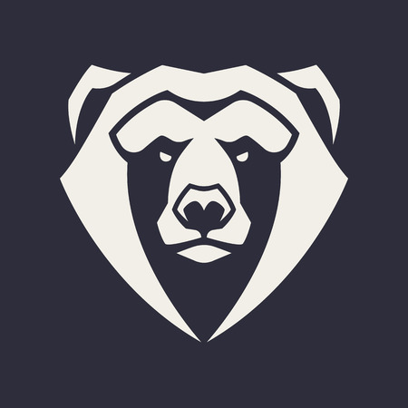 Bear mascot vector art. Frontal symmetric image of bear looking dangerous. Vector monochrome icon.