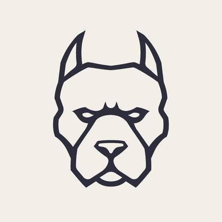 Pitbull mascot vector art. Frontal symmetric image of pitbull looking dangerous. Vector monochrome icon. Vektorové ilustrace