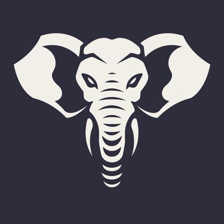 Arte vettoriale mascotte elefante. Immagine frontale simmetrica dell'elefante che sembra pericoloso. Icona monocromatica di vettore.