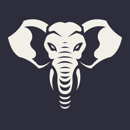 Elephant mascot vector art. Frontal symmetric image of elephant looking dangerous. Vector monochrome icon. Reklamní fotografie - 112955914