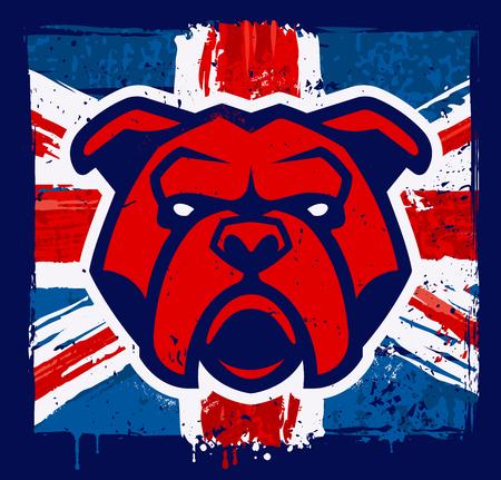 Mascota de cabeza de bulldog rojo sobre fondo de bandera británica grunge. Ilustración de vector.