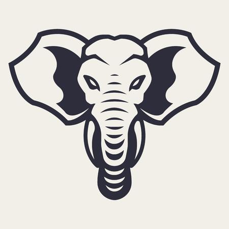 Elephant mascot vector art. Frontal symmetric image of elephant looking dangerous. Vector monochrome icon.