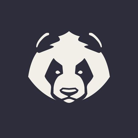 Panda mascot vector art. Frontal symmetric image of panda bear looking dangerous. Vector monochrome icon.